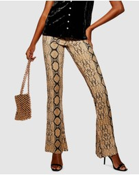 TOPSHOP Petite - Snake Flared Trousers