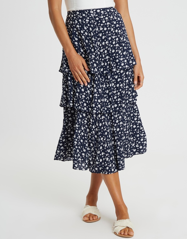 The Fated - Paloma Tiered Midi Skirt