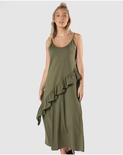 Sass Maisey Ruffle Dress Mossgreen