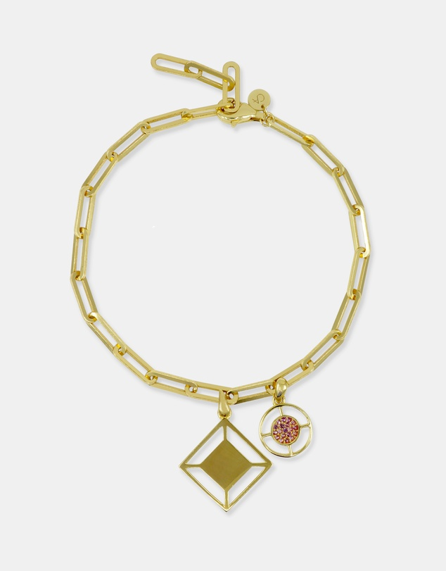Women Large Link Charm Bracelet Gold with Pink