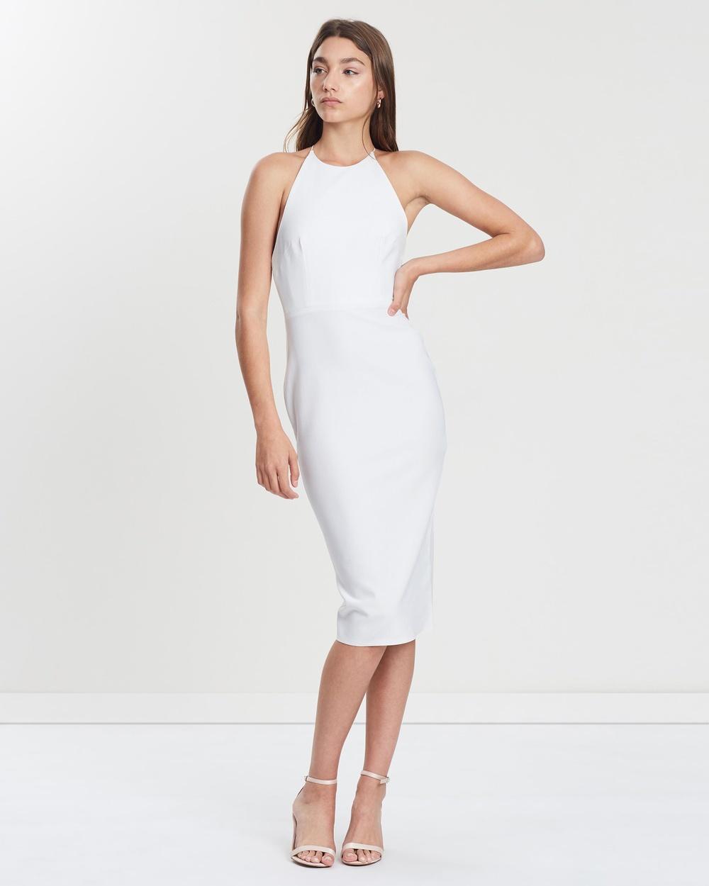 Alex Perry White Ellis Stretch Halter Lady Dress
