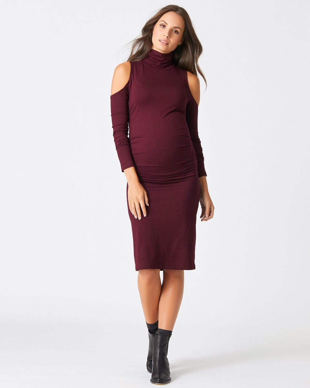 Pea in a Pod Maternity Frankie Cut Out Dress Bodycon Dresses Burgandy Frankie Cut-Out Dress
