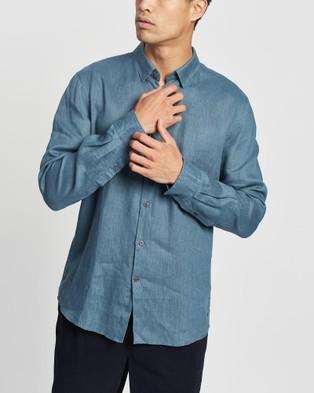 Marcs Felix Linen LS Shirt - Casual shirts (Teal)
