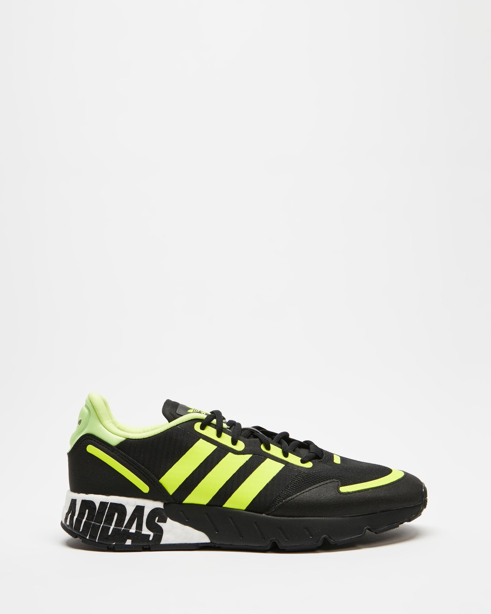 adidas Originals ZX 1K Boost Sneakers Men's Lifestyle Core Black, Solar Yellow & Matte Silver