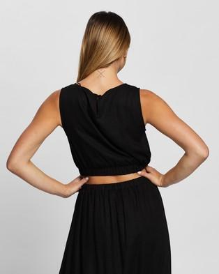 Atmos&Here Bernadette Linen Top - Cropped tops (Black)