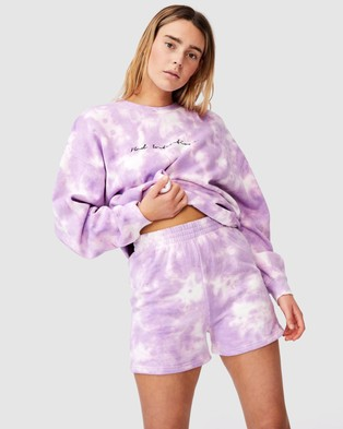 Factorie Hype Fleece Shorts - High-Waisted (Orchid Bloom Tie Dye)