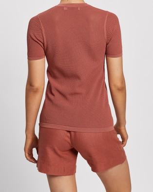 Nobody Denim Edie Open Knit Tee - T-Shirts & Singlets (Terra)
