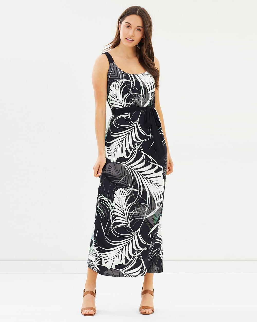 Wallis Pretty Palm Maxi Dress Printed Dresses Black Pretty Palm Maxi Dress