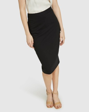Oxford Peggy Blk Wool Stretch Suit Skirt - Pencil skirts (Black)