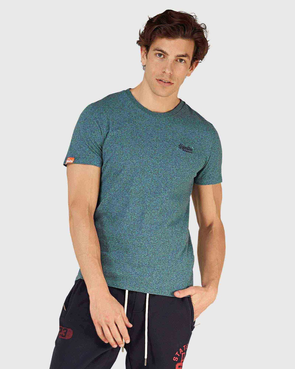 Superdry - Orange Label Embroidery Tee - T-Shirts & Singlets (Pool Blue Navy Grit) Orange Label Embroidery Tee