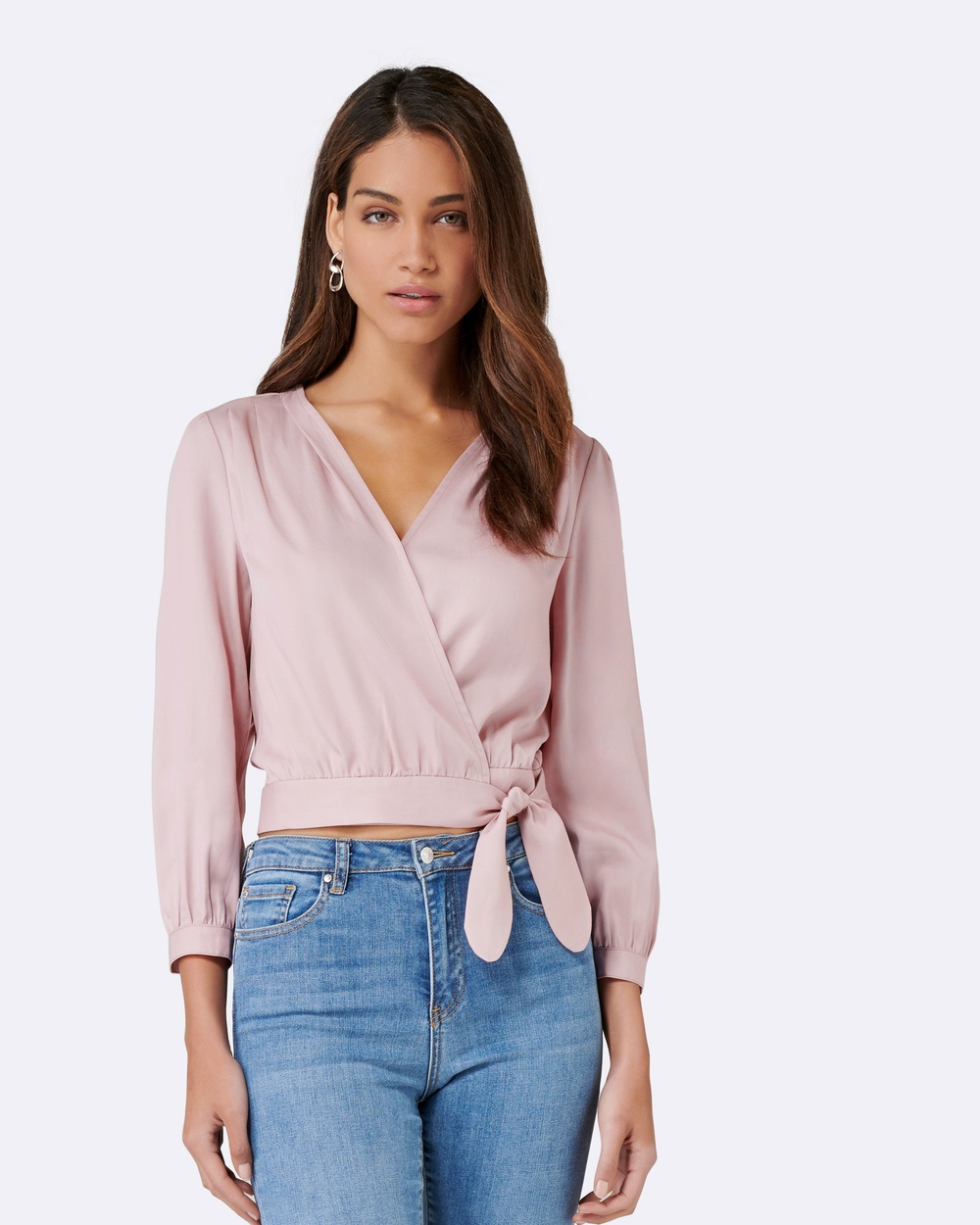 Forever New Bambi Wrap Tie Up Blouse Tops Verona Rose Bambi Wrap Tie Up Blouse