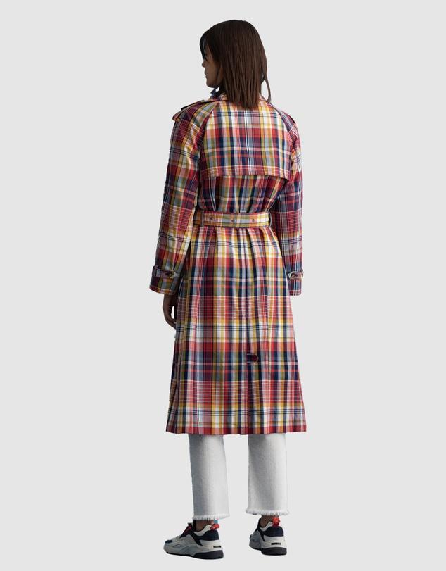 Women Oversized Checked Trench Coat