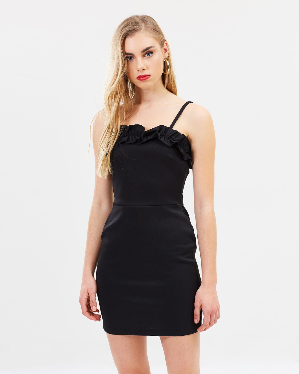 Miss Selfridge Frill Front Body Con Dress Bodycon Dresses Black Frill Front Body-Con Dress