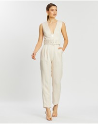 Shona Joy - Wren Plunged Tailored Belt Jumpsuit