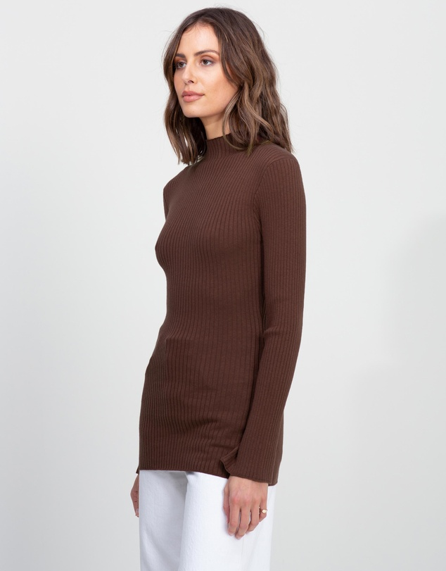 Women Ribbed Knit Turtle Neck Sweater