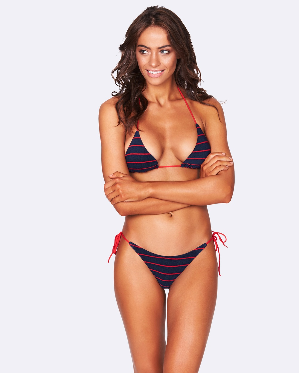 Bond-Eye Swimwear Rebel Ties Terry Triangle Bikini Tops Navy/Red Rebel Ties Terry Triangle
