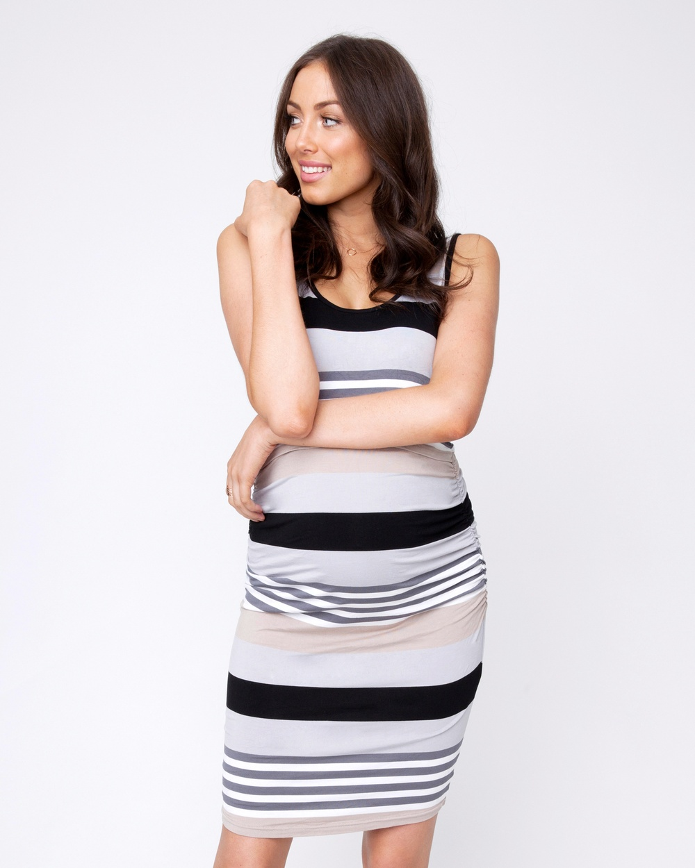 Ripe Maternity Stripe Nursing Dress Bodycon Dresses Flint Stripe Nursing Dress