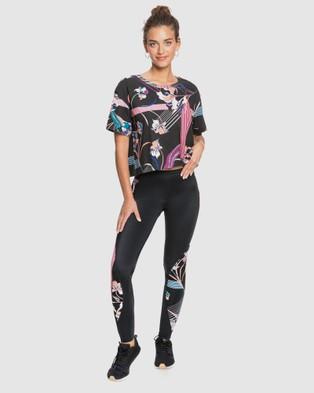Roxy Womens Pop Surf Draw A Line Cropped Sports Top - Cropped tops (TRUE BLACK POP FLOWE)