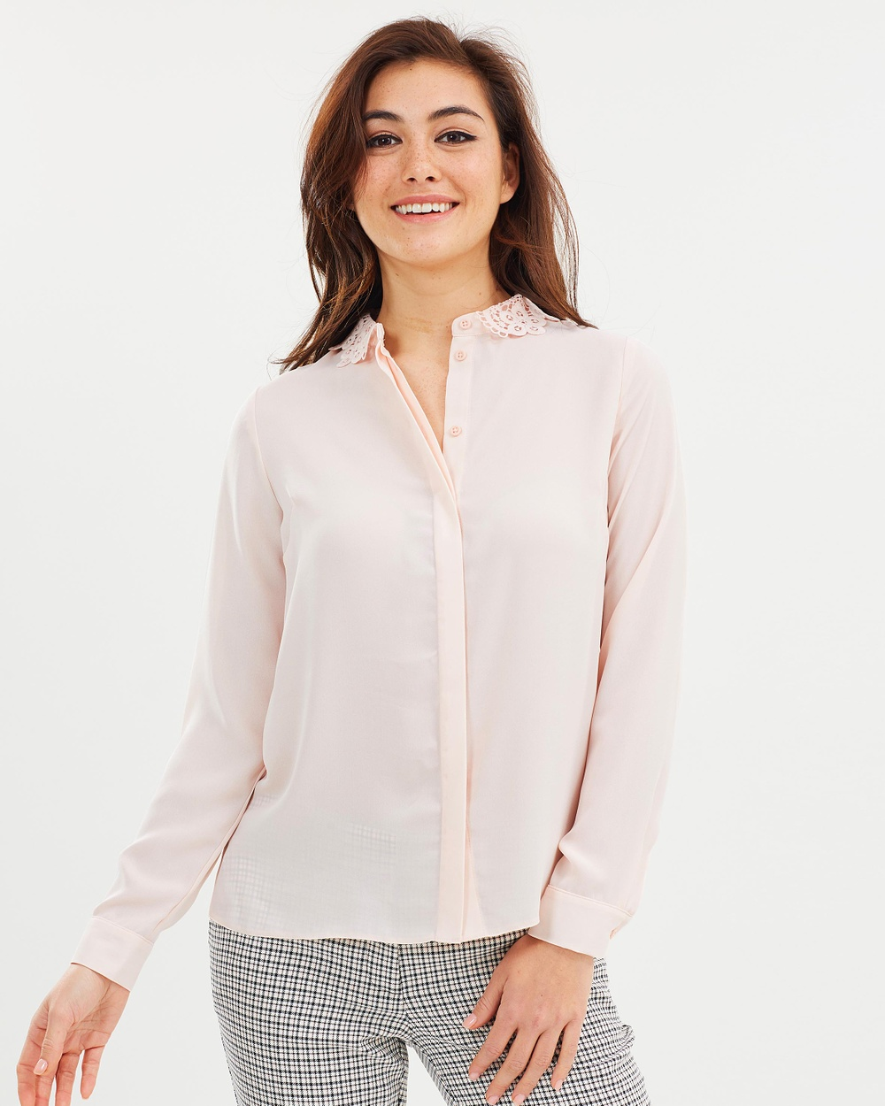 Dorothy Perkins Lace Shirt Tops Blush Lace Shirt