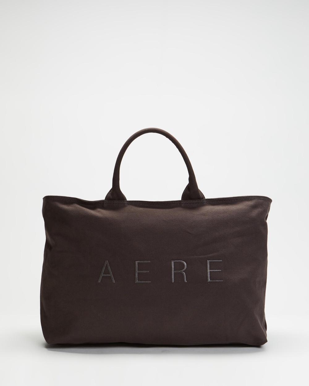 AERE Organic Canvas Zip Tote Beach Bags Charcoal Black
