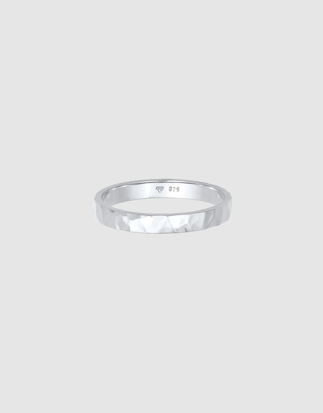 Women Ring Structured Fine Hammered Trend in 925 Sterling Silver