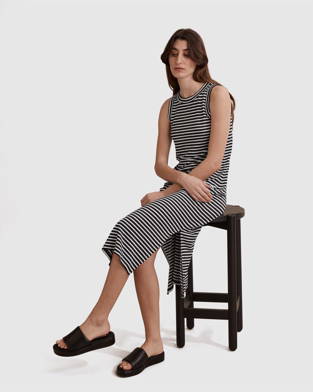 Country Road Stripe Linen Jersey Dress Dresses black Australia
