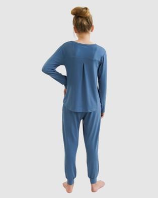 Love Haidee Lounge Pants & Long Sleeve Sleep Tee Set - Two-piece sets (Blue)