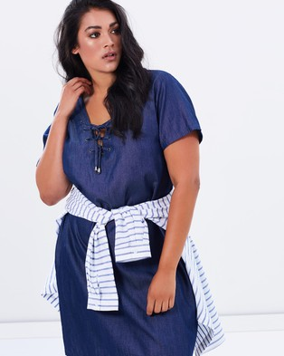 Buy Atmos & Here Curvy - Liza Tie Front Dress - Dresses (Chambray Wash) -  shop Atmos & Here Curvy dresses online