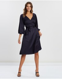 Atmos&Here - Wrap Front Satin Dress