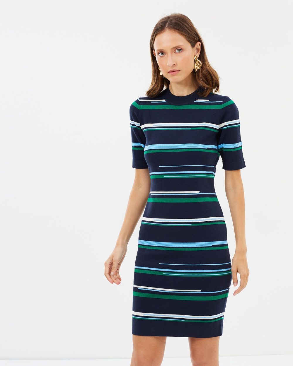 GREY Jason Wu Striped Short Sleeve Crew Neck Knit Dress Bodycon Dresses Navy Striped Short Sleeve Crew-Neck Knit Dress
