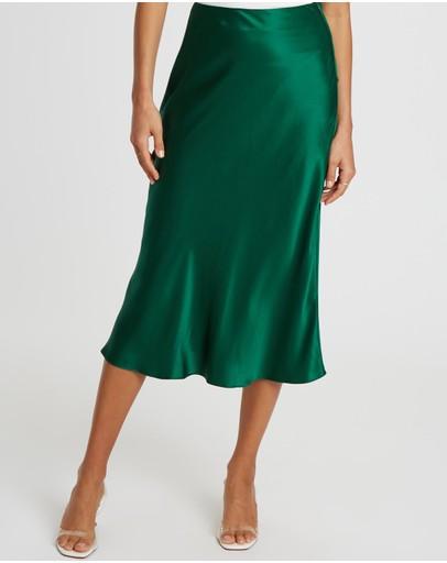 Damsel + Silk Core Slip Midi Skirt Emerald