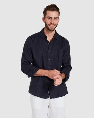 Coast Clothing Long Sleeve Linen Shirt - Casual shirts (Navy)