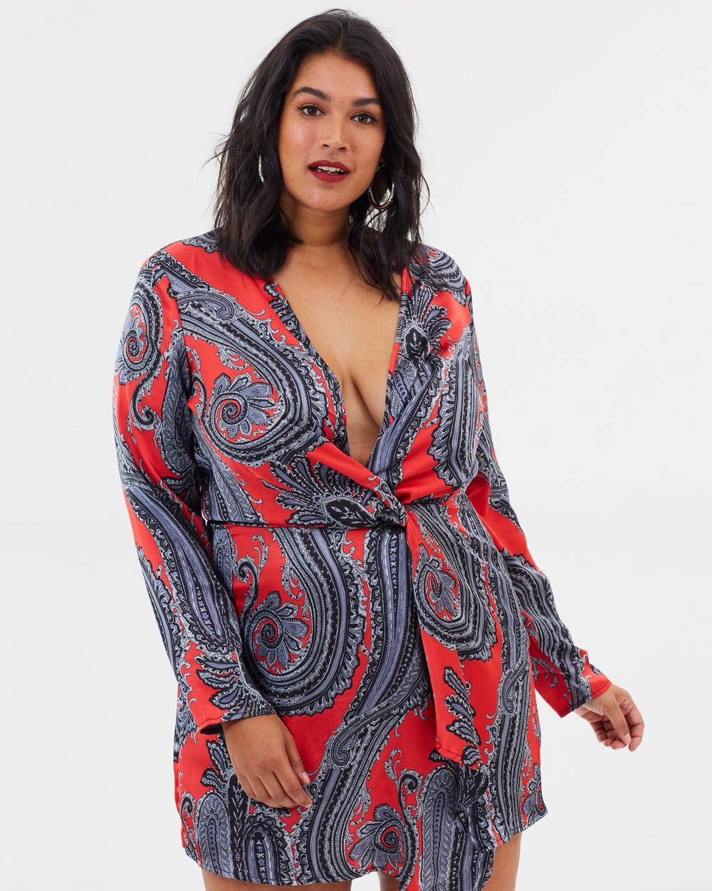 Missguided Curve Paisley Silky Wrap Dress Printed Dresses Red Paisley Silky Wrap Dress