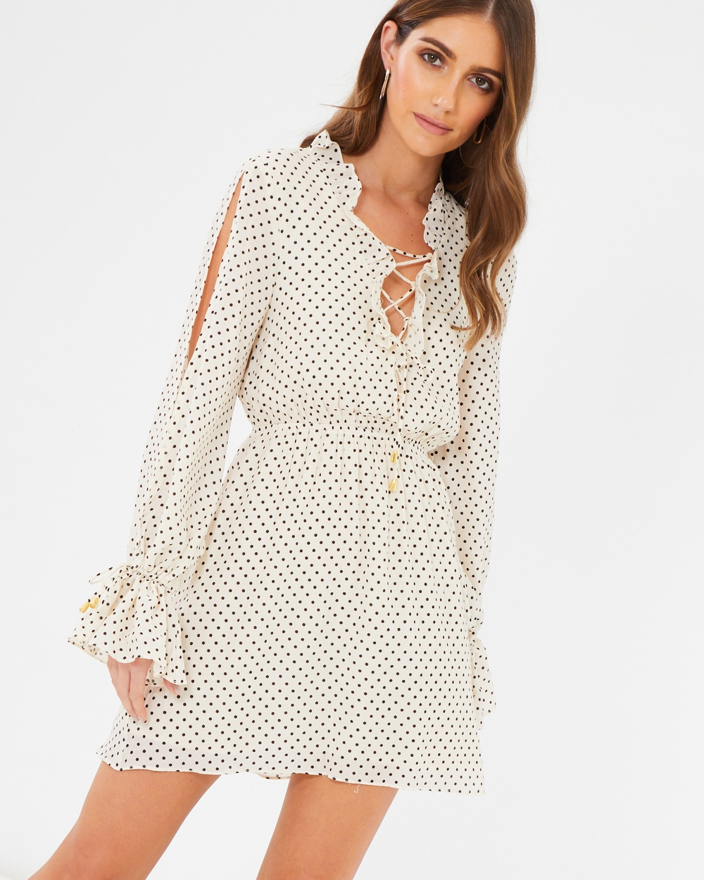 CHANCERY Stella Frill Dress Printed Dresses Ivory Based Polka Dot Stella Frill Dress
