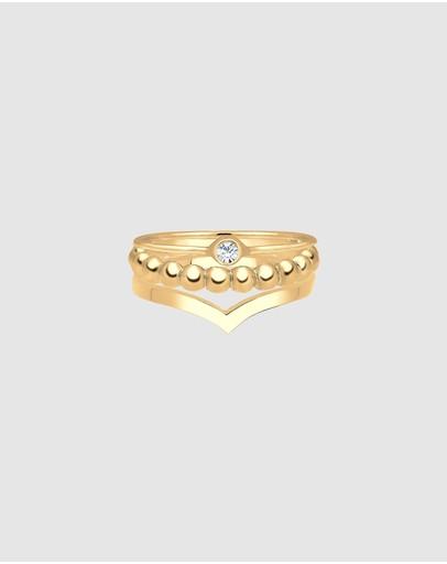 Elli Jewelry Ring Set Of 3 Swarovski® Crystal 925 Silver Gold