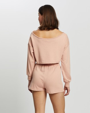 Missguided Co Ord Cold Shoulder Top & Runner Shorts Set - Sweats (Nude)