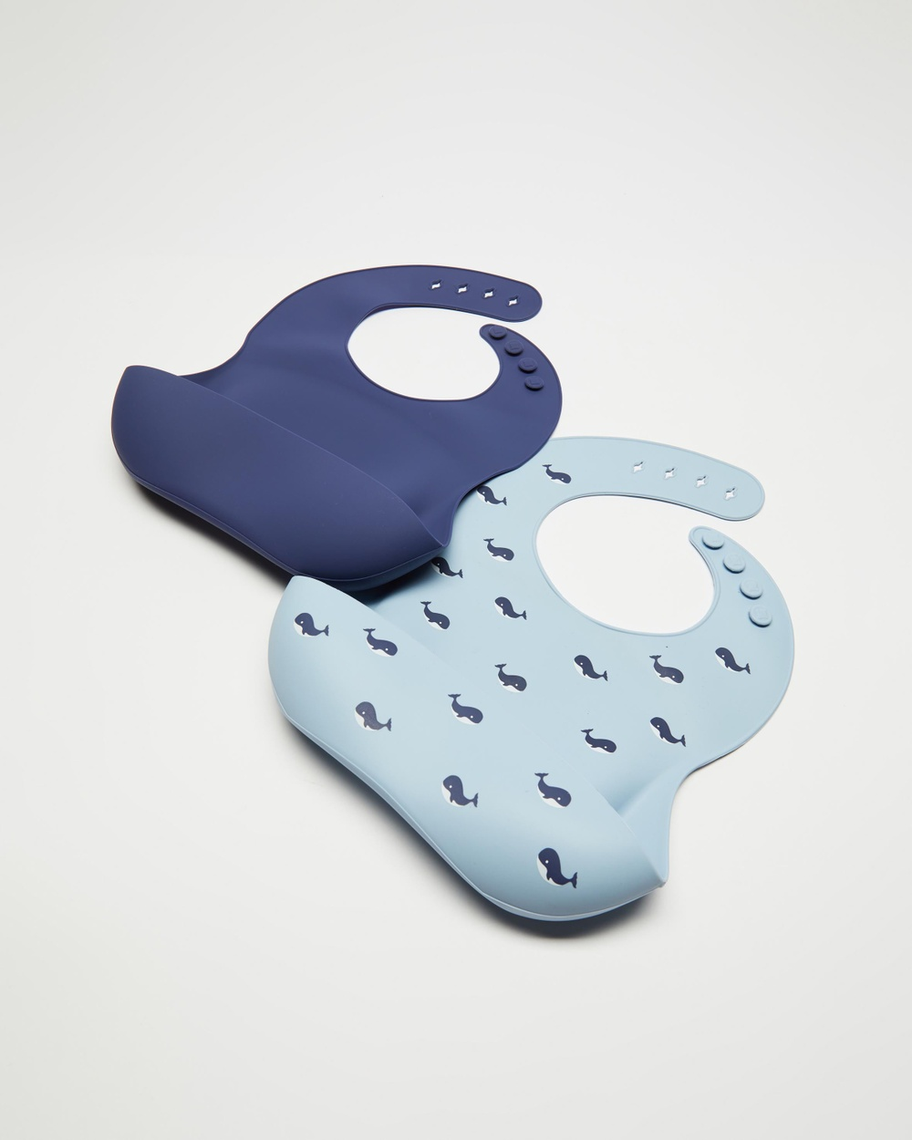 Bebe by Minihaha 2 Pack Silicone Bibs Babies Whale Print & Navy