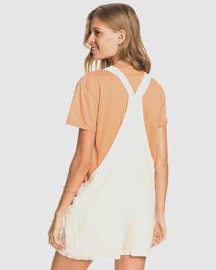Roxy Womens Low Rising Linen Dungaree Short - Jumpsuits & Playsuits (TAPIOCA)