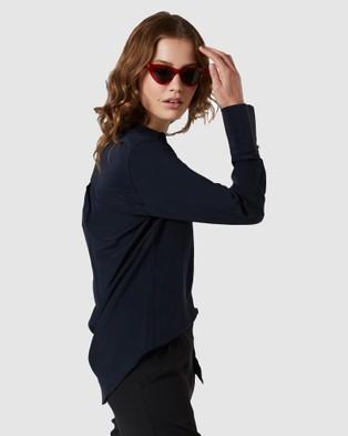 GINIA RTW Silk Satin Poppy Shirt - Tops (Navy)