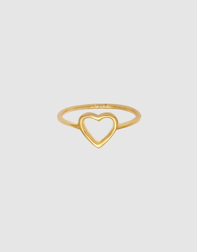 Women Ring Heart Cut Out Design Filigree in 925 Sterling Silver Gold Plated