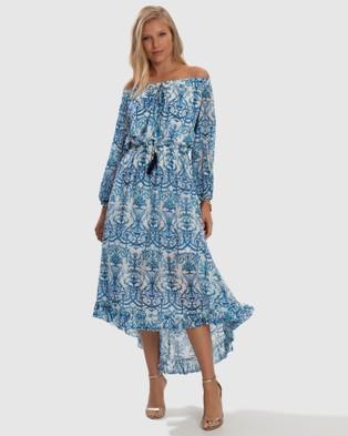 Aqua Blu Australia Olympia Off Shoulder High Low Dress - Printed Dresses (Multi)