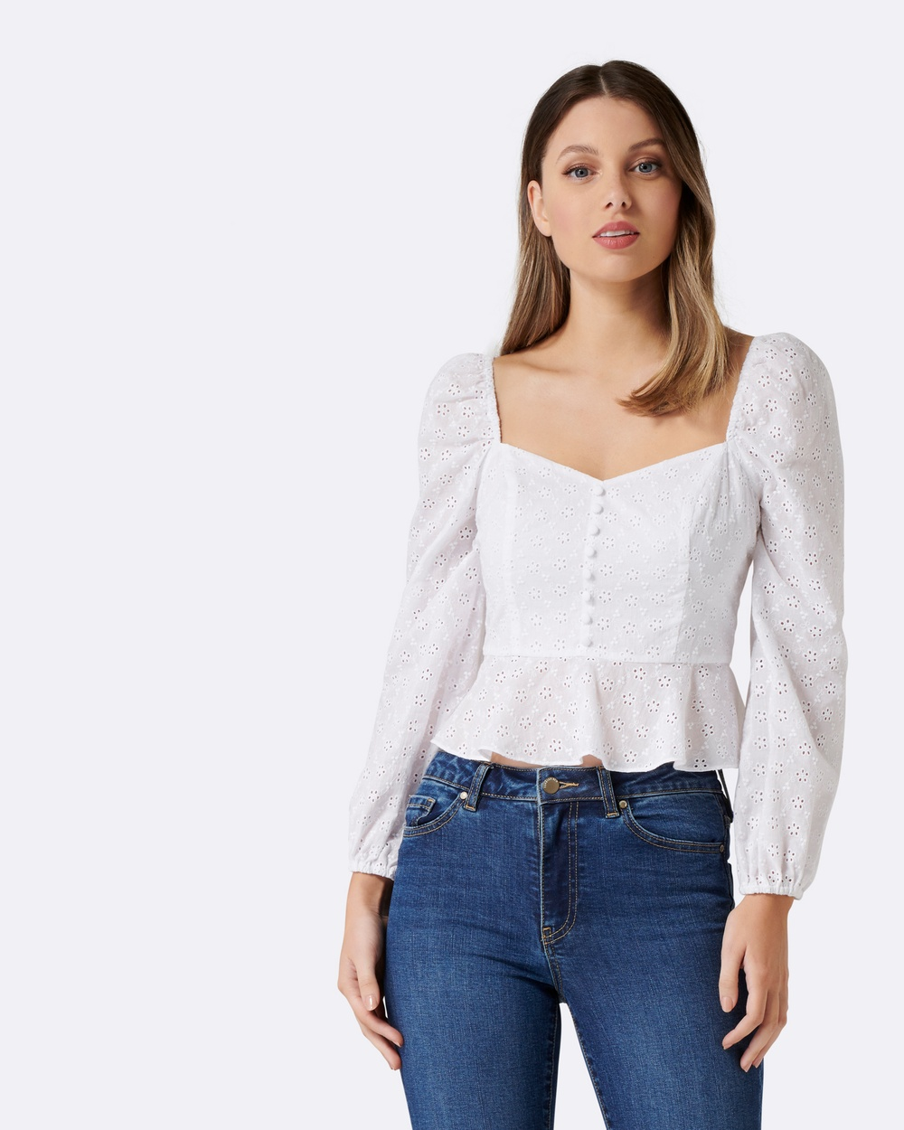 Forever New Celia Cotton Cutwork Blouse Tops Porcelain Celia Cotton Cutwork Blouse
