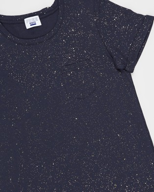 Free by Cotton On Toni T Shirt Dress   Teens - Printed Dresses (Indian Ink & Galactic Sparkle)