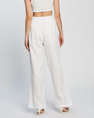 Dazie Little Italy Linen Pants - Pants (White)