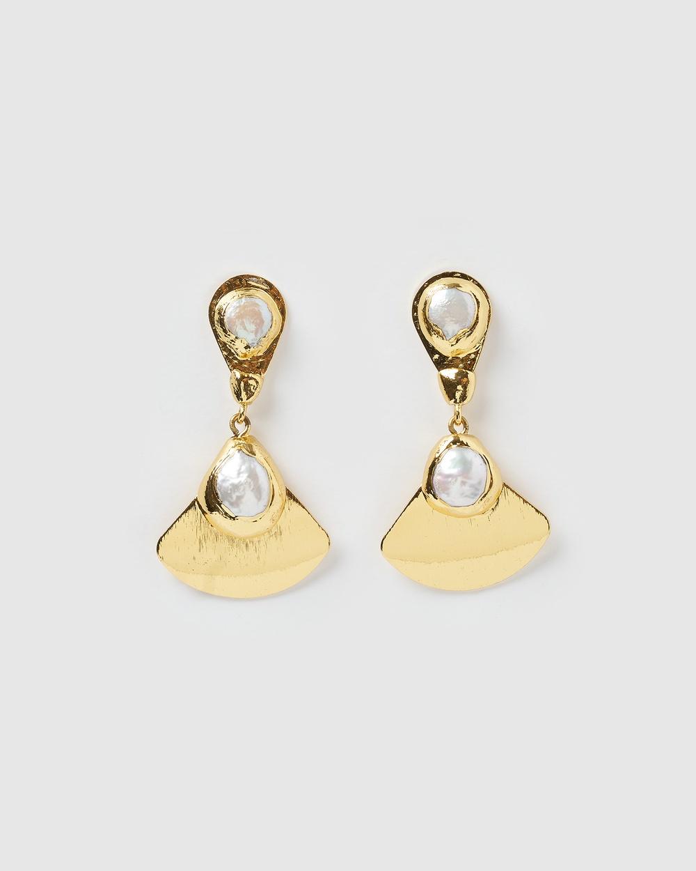 Miz Casa and Co Malia Earrings Jewellery Gold Freshwater Pearl