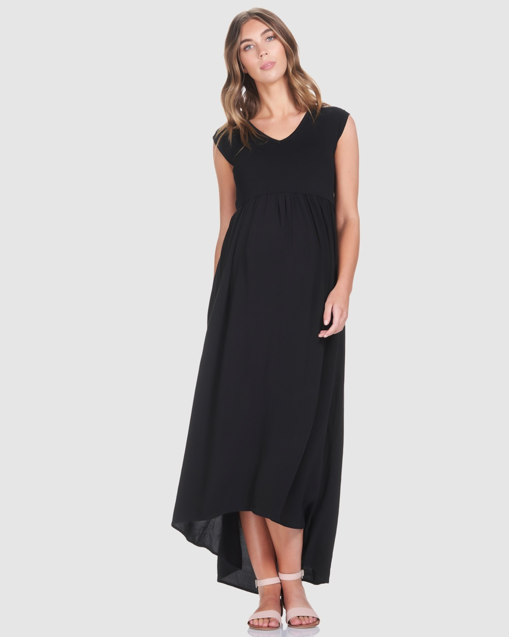Soon Maternity Black Francis Feeding Maxi Dress