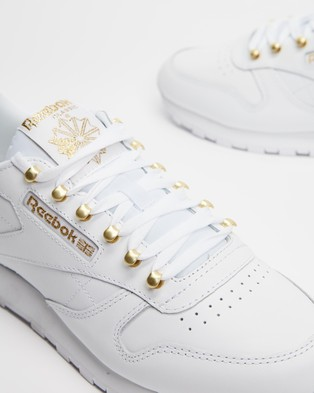 Reebok Classic Leather Shoes   Women's - Lifestyle Sneakers (White, Matte Gold & White)