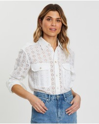 Polo Ralph Lauren - Eyelet Linen Long Sleeve Oversized Shirt