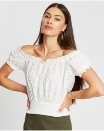 Atmos&Here - Olive Off-The-Shoulder Broderie Top