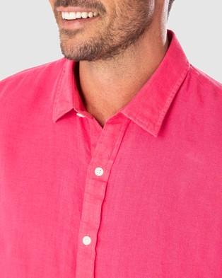Gazman Tailored Fit Linen Plain Long Sleeve Shirt - Shirts & Polos (Magenta)